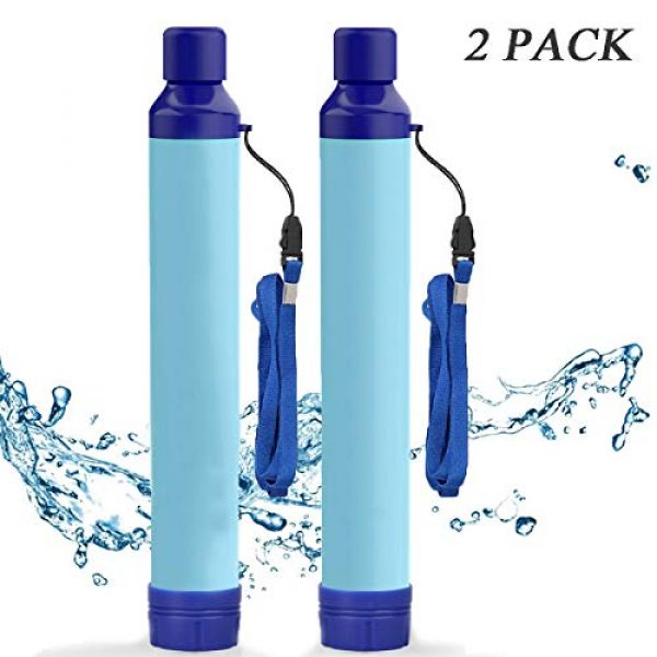 Amorom Survival Water Filter 1 Amorom Water Filter Straw, Portable Outdoor Survival Personal Water Filtration System for Camping Hiking Climbing Backpacking, 2 Pack