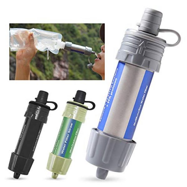 WASAGA Survival Water Filter 1 WASAGA Outdoor Water Filter Personal Water Filtration Straw Emergency Survival Gear Water Purifier for Hiking, Camping, Travel, and Emergency Preparedness