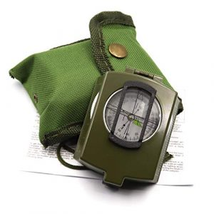 DETUCK Survival Compass 1 DETUCK(TM Military Compass Metal Sighting Lensatic Compass, Night Fluorescent, Impact Resistant and Waterproof, Survival Navigation Compass for Hiking, Camping, Hunting, Backpacking