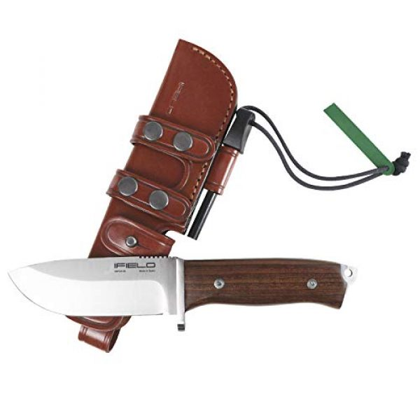iFIELD Fixed Blade Survival Knife 1 iFIELD Survival Knife Workout, 4.6 inch Satin MOVA Blade, with Leather Sheath, Camping Tool for Fishing, Hunting, Sport Activity