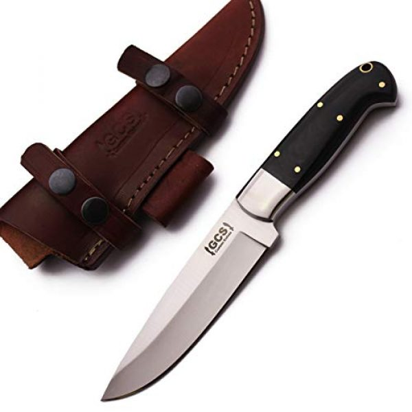 GCS Knives Fixed Blade Survival Knife 1 GCS Custom Handmade Black G10 Handle D2 Tool Steel Knife & Buffalo Hide Sheath GCS201