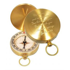 Stanley London Survival Compass 1 Stanley London Personalized Pocket Compass Engraved Joshua 1:9 (Be Strong and Courageous) - Great for Baptism, Confirmation, First Communion, Graduation