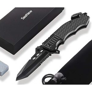 Seenew Folding Survival Knife 1 Tactical Folding Knife - Escape Pocket Knife, Emergency Knife and Survival Knife w/ 3.6 Inch Serrated Edge Knife Blade and Glass Breaker and Seatbelt Cutter