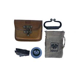 KonvoySG Survival Fire Starter 1 KonvoySG Carbon Steel Fire Striker, English Flint Stone & Char Cloth Traditional Hand Forged Fire Starter, Leather Gift Kit with Emergency Tinder Jute Bag