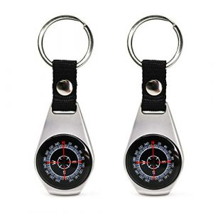 MIASTAR  1 MIASTAR Keychain Military Magnetic Compass | 2 Pack Style Key Ring Compass | Waterproof/Shockproof | Mini Metal Keychain Compass | Survival Gear Compass for Kids Hiking