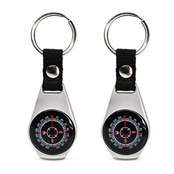 MIASTAR Survival Compass 1 MIASTAR Keychain Military Magnetic Compass   2 Pack Style Key Ring Compass   Waterproof/Shockproof   Mini Metal Keychain Compass   Survival Gear Compass for Kids Hiking, Camping, Motoring, Outdoor