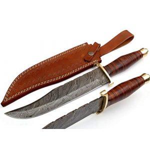 SharpWorld Fixed Blade Survival Knife 1 SharpWorld 15 Inches Custom Damascus Hunting Knife Exotic Handle w/Leather Sheath TJ116