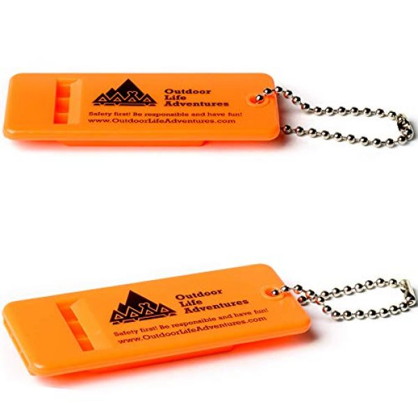 Outdoor Life Adventures Survival Whistle 1 Outdoor Life Adventures Emergency Survival Whistle with Small Chain for Camping, Hiking, Boating, and Kayaking ABS Plastic Super Loud Whistles Design for Rescue Signaling 2 Pack