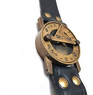 collectiblesBuy  1 Vintage Antique Sundial Compass with Leather Band Retro Watch Compass Nautical Comfort Wear Handmade Article