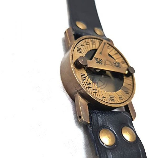 collectiblesBuy Survival Compass 2 Vintage Antique Sundial Compass with Leather Band Retro Watch Compass Nautical Comfort Wear Handmade Article