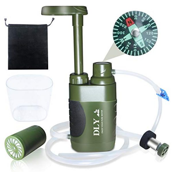 DLY Survival Water Filter 1 DLY Portable Water Filter Outdoor Water Purifier Camping - 0.01 Micron Emergency Backpacking Water Filter for Hiking with 4-Stage Filter Pump