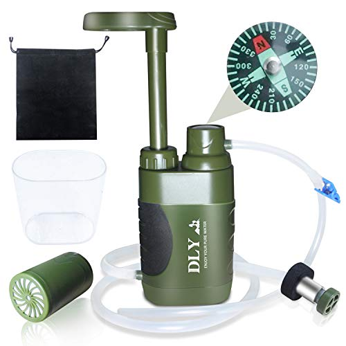 DLY  1 DLY Portable Water Filter Outdoor Water Purifier Camping - 0.01 Micron Emergency Backpacking Water Filter for Hiking with 4-Stage Filter Pump