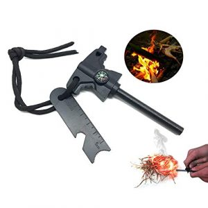 WEKIOO  1 Flint Fire Starter Fire Steel Permanent Emergency Carbon Steel Fire Striker Survival Outdoor Camping Waterproof Fire Starters Kit