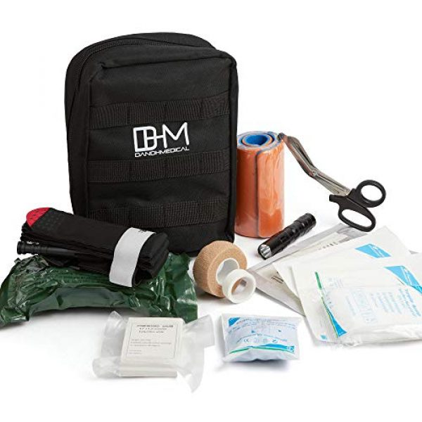 D AND H MEDICAL First Aid Kit 1 D & H Medical Survival (IFAK) Trauma First Aid Kit for Emergencies. Includes Combat Action Tourniquet (CAT) and Much More. Great for Outdoor Gear for Camping Hiking Hunting Travel Car Adventures.