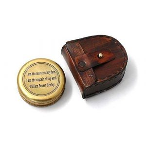"""Roorkee Instruments India Survival Compass 1 Famous Quote of William Ernest Henley""""I AM The Master of My Fate"""" Compass w/case"""
