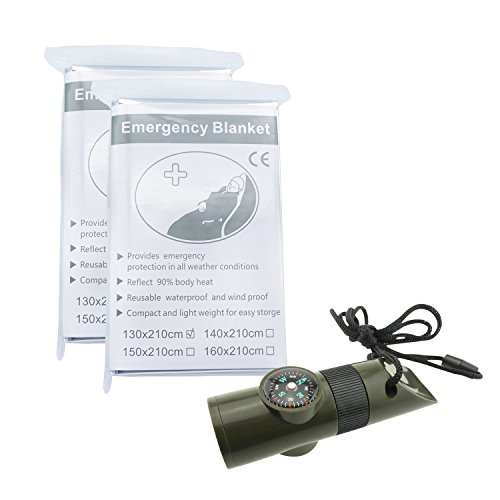 TRENDBOX  1 TRENDBOX Multifunctional 7 in 1 Camping Hiking Outdoor Whistle Compass Magnifier LED Flashlight Thermometer Emergency Survival Traveling