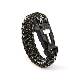 Andux  1 Andux Outdoor Emergency Paracord Survival Bracelet Flint Fire Starter Rope Bracelet 1 Pack YJSH-01