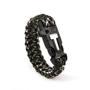 Andux Survival Paracord Bracelet 1 Andux Outdoor Emergency Paracord Survival Bracelet Flint Fire Starter Rope Bracelet 1 Pack YJSH-01