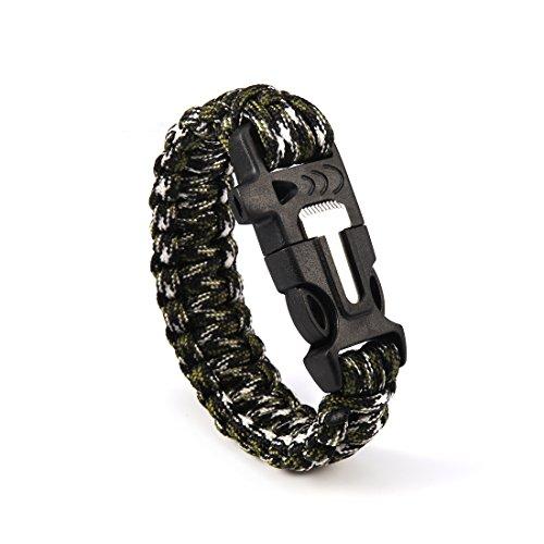 Andux  1 Andux Outdoor Emergency Paracord Survival Bracelet Flint Fire Starter Rope Bracelet 1 Pack YJSH-01