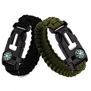 Feellove  1 Feellove 2pcs Survival Bracelets Compass Flint Bracelet Outdoor Escape Survival Hand Rope Survival Whistle Life-Saving Flint Bracelet