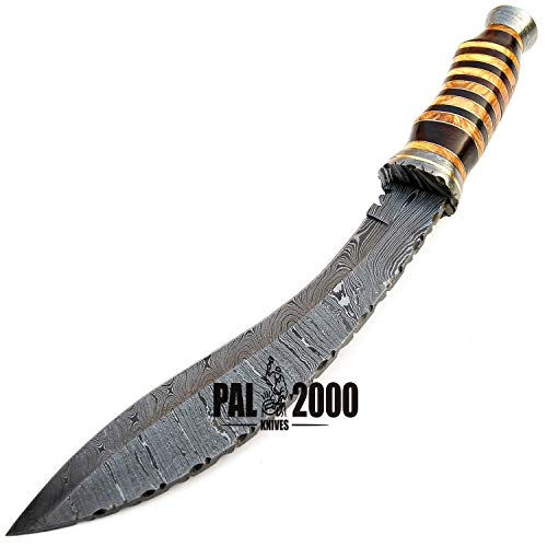PAL 2000 KNIVES  3 SGNT-9372 Custom Handmade Damascus Steel Blade Hunting Bowie Knife -Sword/Chef Kitchen Knife/Dagger/Full Tang/Axe/Billet/Cleaver/Bar/Folding Knife/Knives Accessories/Survival/Camping with Sheath