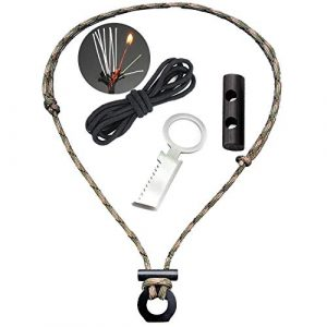 BSGB  1 BSGB DIY Paracord Kits Ferro Rod & Scraper with Tinder Cord | Survival Fire Starter Necklace Gear Firesteel Striker Kit Magnesium Ferro Rod Tool with Adjustable 550 Rope Emergency Lanyard for Camping