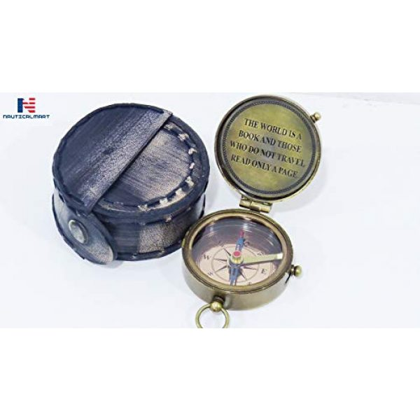 NauticalMart Survival Compass 1 NauticalMart Brass Compass The World is a Book & Those Who Do Not Travel Read Only a Page Quote Gift Decor
