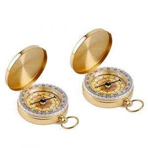 WeTest  1 Camping Survival Compass Classic Pocket style Copper Clamshell Compass 2 Pack