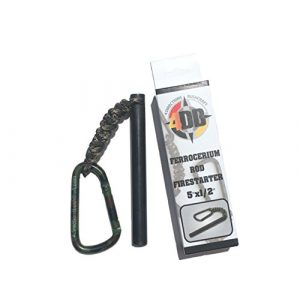 "4 Directions Bushcraft Survival Fire Starter 1 4DB 1/2""x5"" Ferrocerium Rod Firestarter Bushcraft Camping Flint/Mischetal Fire Starter Fire Steel Firstarting Rod Emergency Survival Gear Firestarter with Lanyard and Carabiner"