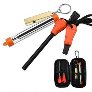Alona Magic Survival Fire Starter 1 Alona Magic Fire Starter with Emergency Whistle, Portable Case for Emergency Survival Kits, Camping, Hiking, All-Weather Magnesium Ferro Rod