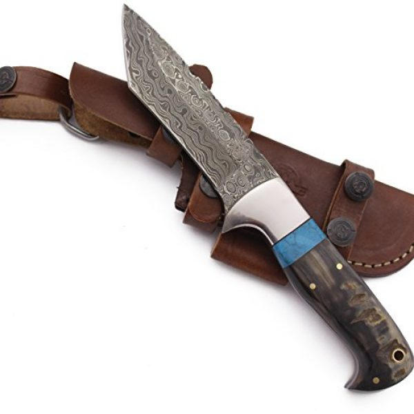 WolfKlinge Fixed Blade Survival Knife 1 WolfKlinge DCX17-72 Handmade Damascus Steel Hunter, Sheep Horn Handle, with Cowhide Leather Sheath Be The First to Review This Item