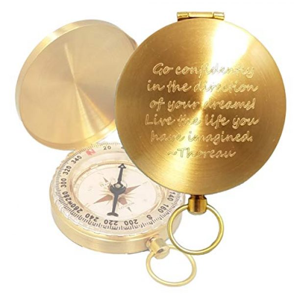 Stanley London Survival Compass 1 Stanley London Engraved Compass with Thoreau's Go Confidently Quote