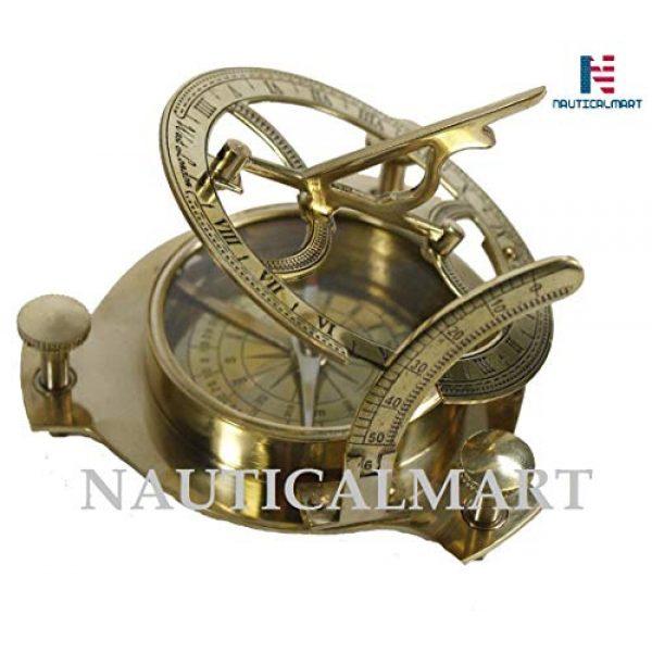 "NauticalMart Survival Compass 1 NauticalMart 4"" Sundial Compass - Solid Brass Sun Dial"
