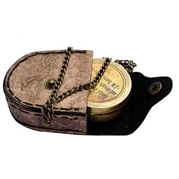 MAH Survival Compass 1 MAH Second Star to The Right J. M. Barrie, Peter Pan Engraved Brass Compass with Leather Case. C-3279