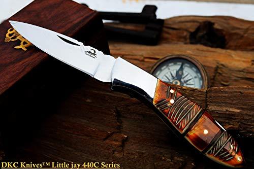 "DKC Knives  1 DKC Knives Sale DKC-58-LJ-EH-440c Little Jay Chief 440c Stainless Steel Folding Pocket Knife 4"" Folded 7"" Long 4.7oz oz High Class LJ-Series"