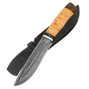 Nazarov Knives  1 Hunting Knife - Damascus Knife - Birchbark Handle Siberian w/Fullers - Fixed Blade Knife