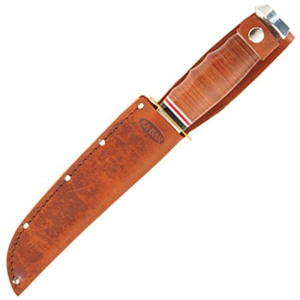 Ka-Bar Fixed Blade Survival Knife 2 Ka Bar 2-1235-2 Leather Handled Marine Hunter Knife