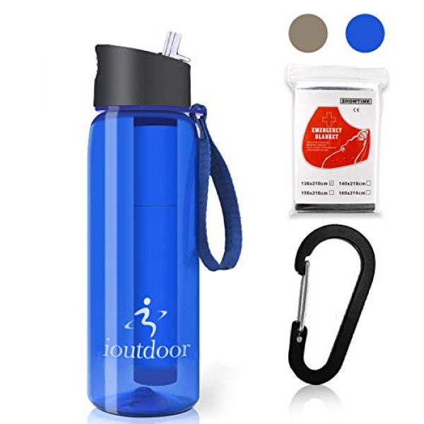 ioutdoor Survival Water Filter 1 ioutdoor Filtered Water Bottle 22oz with One Free Emergency Blanket, BPA Free Tumblers with 2-Stage Intergrated Filter Straw for Camping, Hiking, Backpacking,Travel,Daily Use