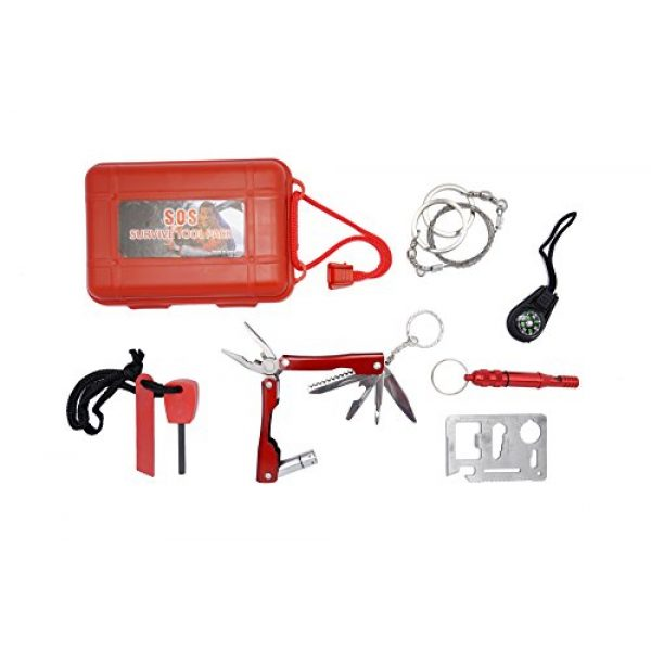 KUOYI Survival Fire Starter 1 KUOYI Survival Kit Emergency SOS Survive Tool Pack for Camping Hiking Hunting Biking Climbing Traveling and Emergency Magnesium Fire Starter Compass Knife Whistle Multi-function Saber Card Wire Saw