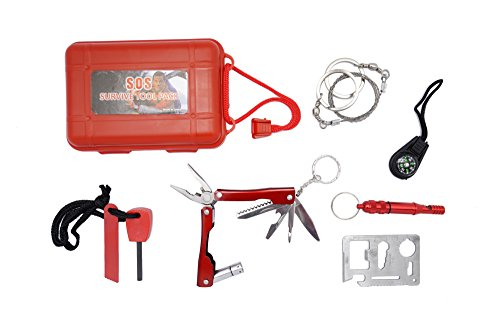 KUOYI  1 KUOYI Survival Kit Emergency SOS Survive Tool Pack for Camping Hiking Hunting Biking Climbing Traveling and Emergency Magnesium Fire Starter Compass Knife Whistle Multi-function Saber Card Wire Saw