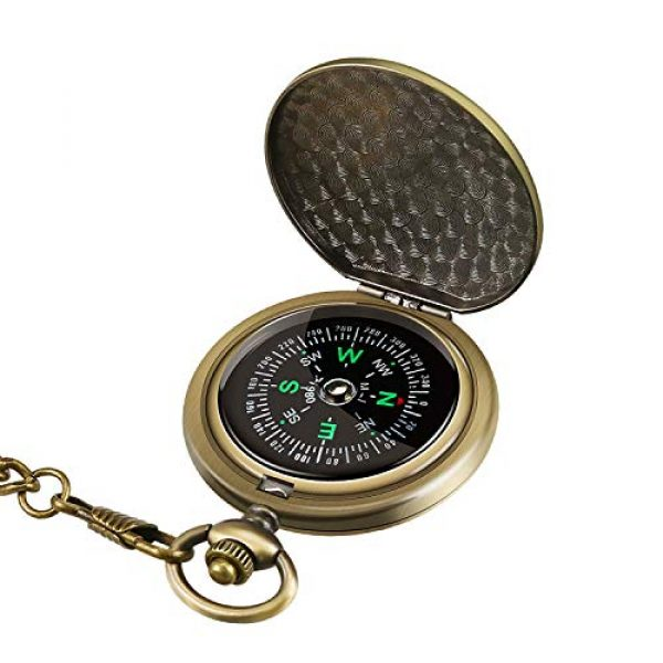 Intsun Survival Compass 1 Intsun Retro Compass Portable Military Compass Fluorescent Glow Survival Gear Compass Outdoor Navigation Compass Tools for Hiking, Camping, Riding, Hunting, Boating, Boy Scout