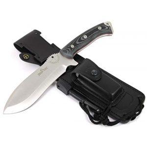 JEO-TEC Fixed Blade Survival Knife 1 JEO-TEC N55 Bushcraft Survival Hunting Camping Knife, MOVA-58, Genuine Leather Multi-Position Sheath + Firesteel + Sharpener Stone, Handmade