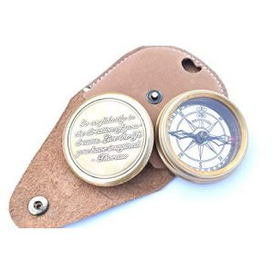 NEOVIVID Survival Compass 1 NEOVIVID Go Confidently Quote Engraved Twist Open Brass Pocket Compass with Leather Case, Directional Magnetic Navigational Compass, Nautical Compass