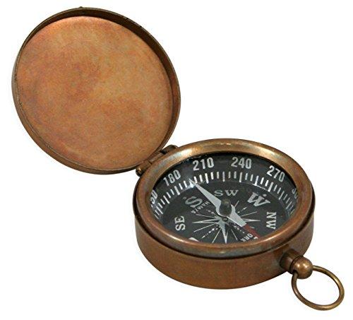 Historical Emporium Survival Compass 1 Historical Emporium Antique Brass Pocket Compass with Hinged Lid