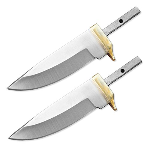 Whole Earth Supply  1 Whole Earth Supply (Set of 2) Custom Blank Blade Drop Point Knife Knives Guard w/Brass Guard Bolster BL7829