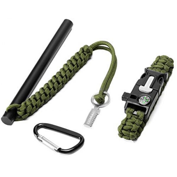 Brame Survival Fire Starter 1 Brame Ferro Rod 6 inch x 1/2 inch Fire Starter and Emergency Bracelet with Compass and Whistle, Fire Starting Survival Gear HSS Steel Scraper Ferrocerium Rod Kit with 9 ft Paracord and Carabiner