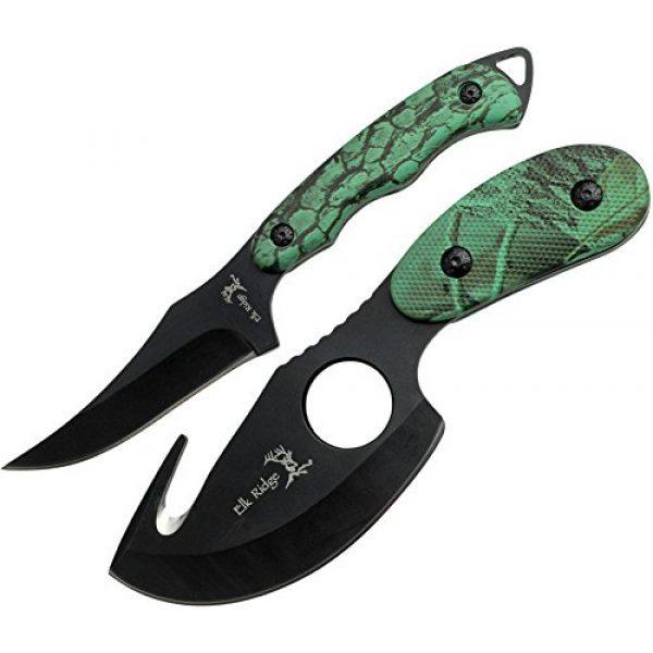 Elk Ridge Fixed Blade Survival Knife 1 Elk Ridge - Outdoors 2-PC Fixed Blade Hunting Knife Set - Black Stainless Steel Skinner and Gut Hook Blades, Camo Coated Nylon Fiber Handles, Nylon Sheath - Hunting, Camping, Survival - ER-300CA