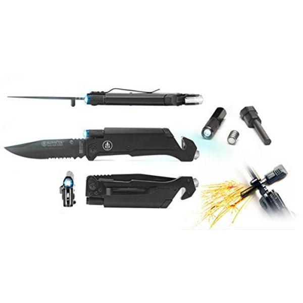 Kovacek Folding Survival Knife 1 Kovacek AMZ3 Elita Survival Pocket Knife, Belt cutter, Magnesium Fire Starter, LED Flashlight, Glass Breaker GREAT GIFT