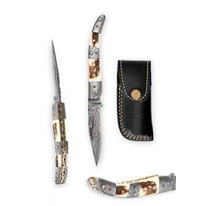 Perkin Folding Survival Knife 1 Handmade Damascus Pocket Knife - Beautiful Folding Knife