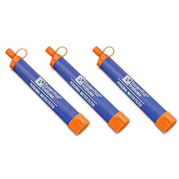 Essential Value Survival Water Filter 1 Essential Value 3 Pack Personal Water Filter - Perfectly Sized Water Straw with Bottle Attachment Technology - Excellent for Hiking   Backpacking   Camping & Emergency Water Survival Situations